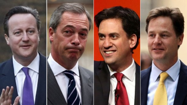 Four main party leaders in UK General Election 2015